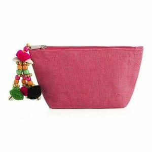 SHIRALEAH Juanita jute cosmetic pouch clutch bag